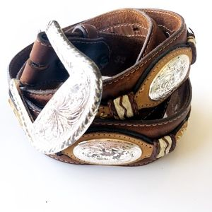 Justin Leather Western Concho Belt Size 32